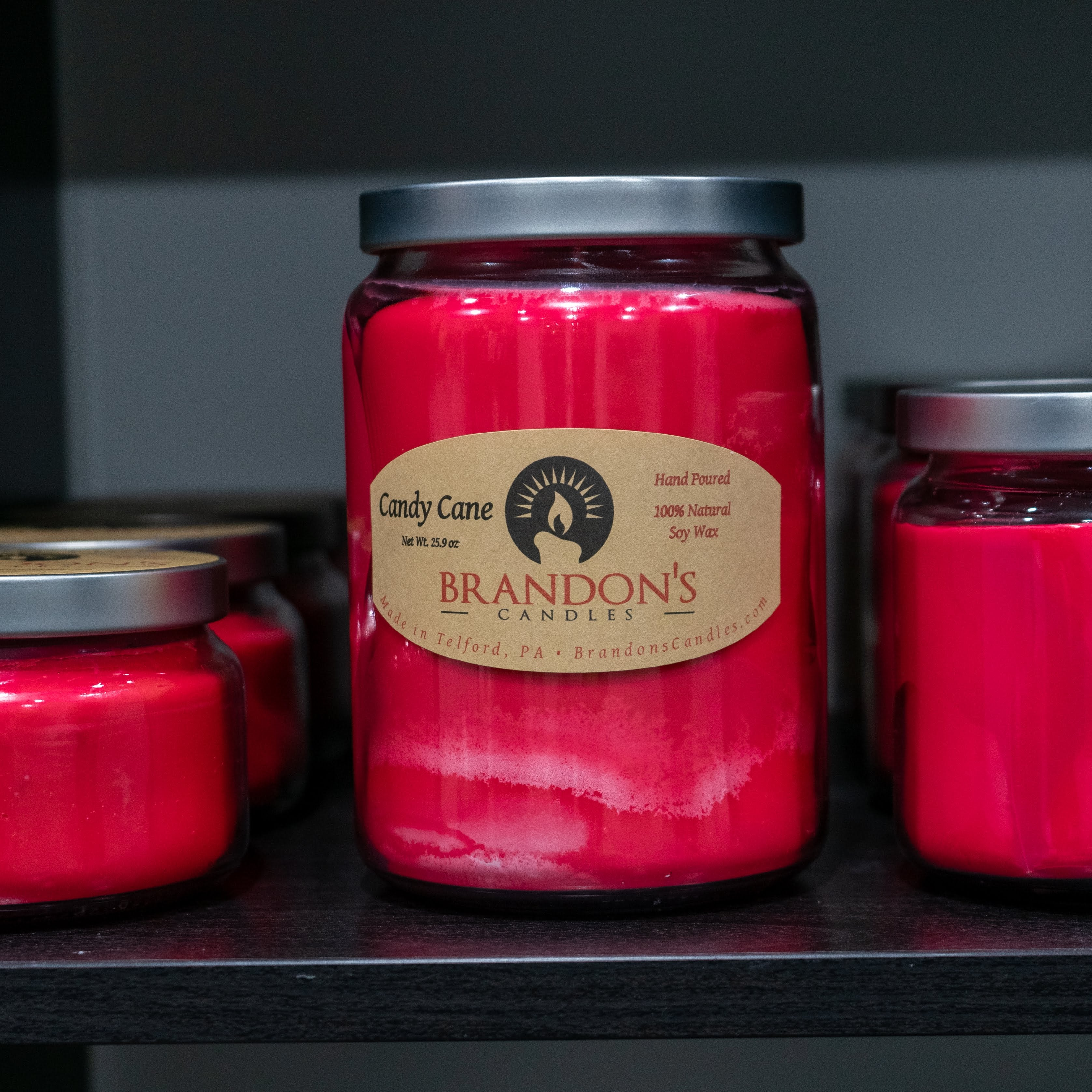 Candy Cane Scented, Red Colored Soy Jar Candle