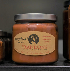 Gingerbread Scented, Tan Colored Soy Jar Candle