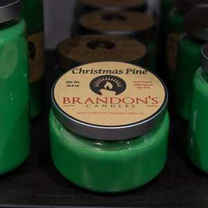 Christmas Pine Scented, Green Colored Soy Jar Candle