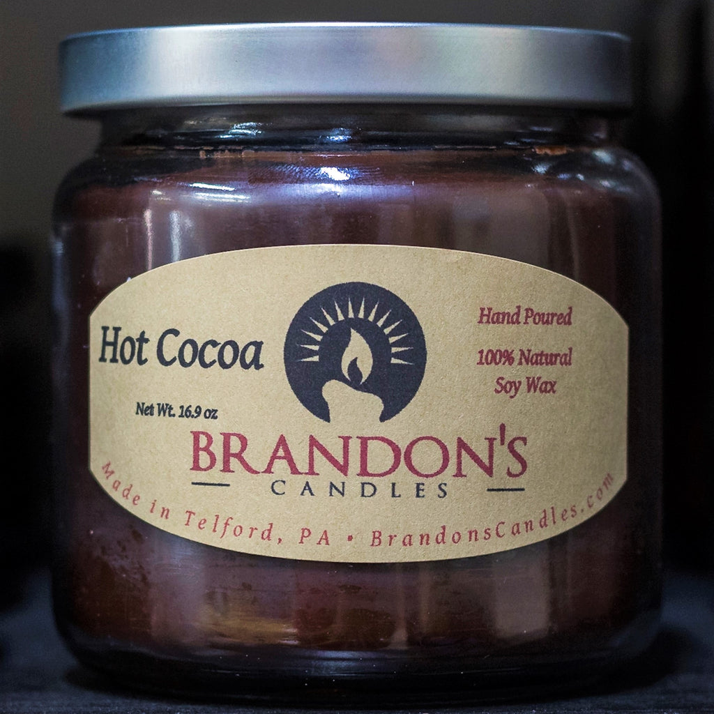 Hot Cocoa Scented, Chocolate Colored Soy Jar Candle