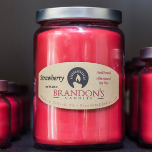 Strawberry Scented, Red Colored Soy Jar Candle