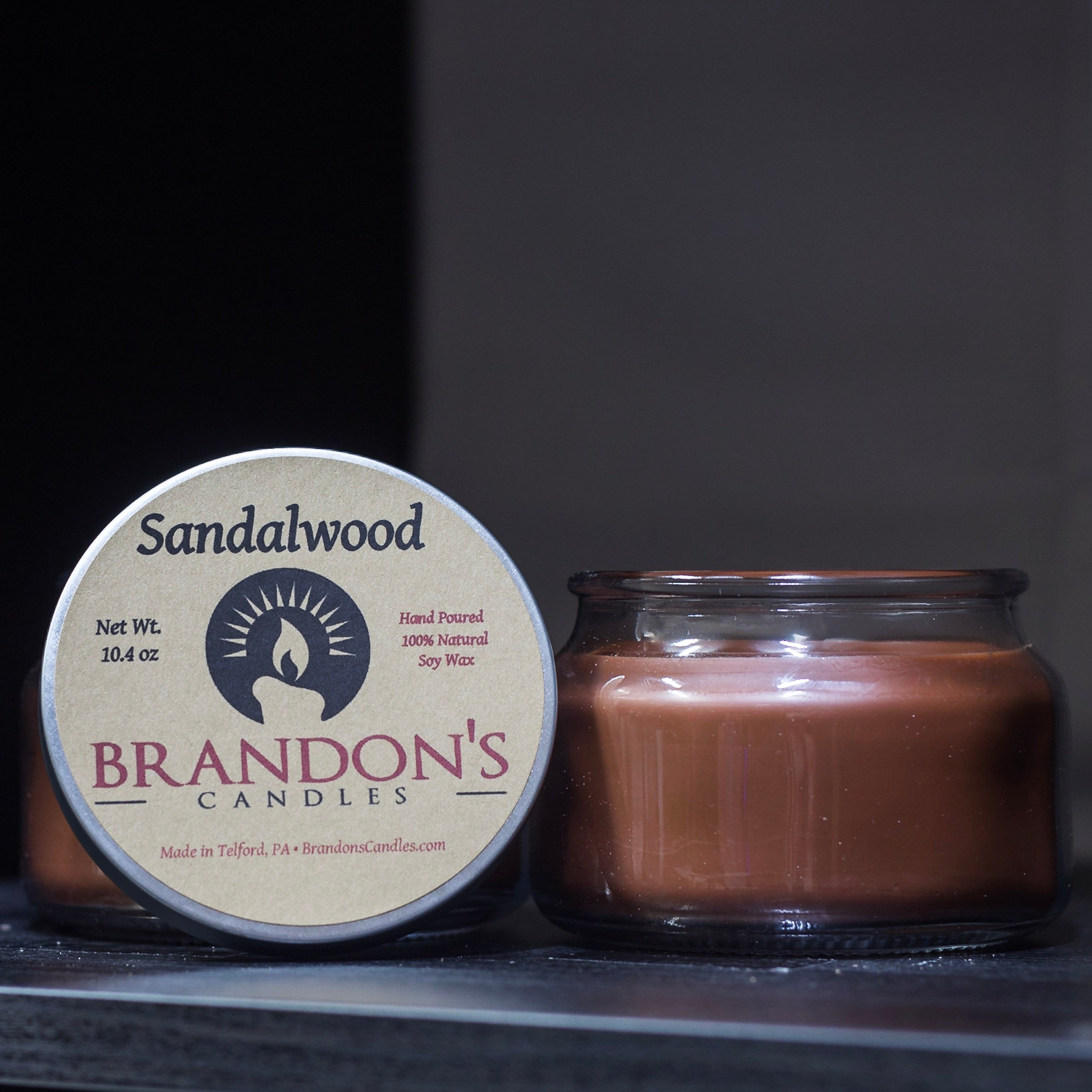 Sandalwood Scented, Brown Colored Soy Jar Candle