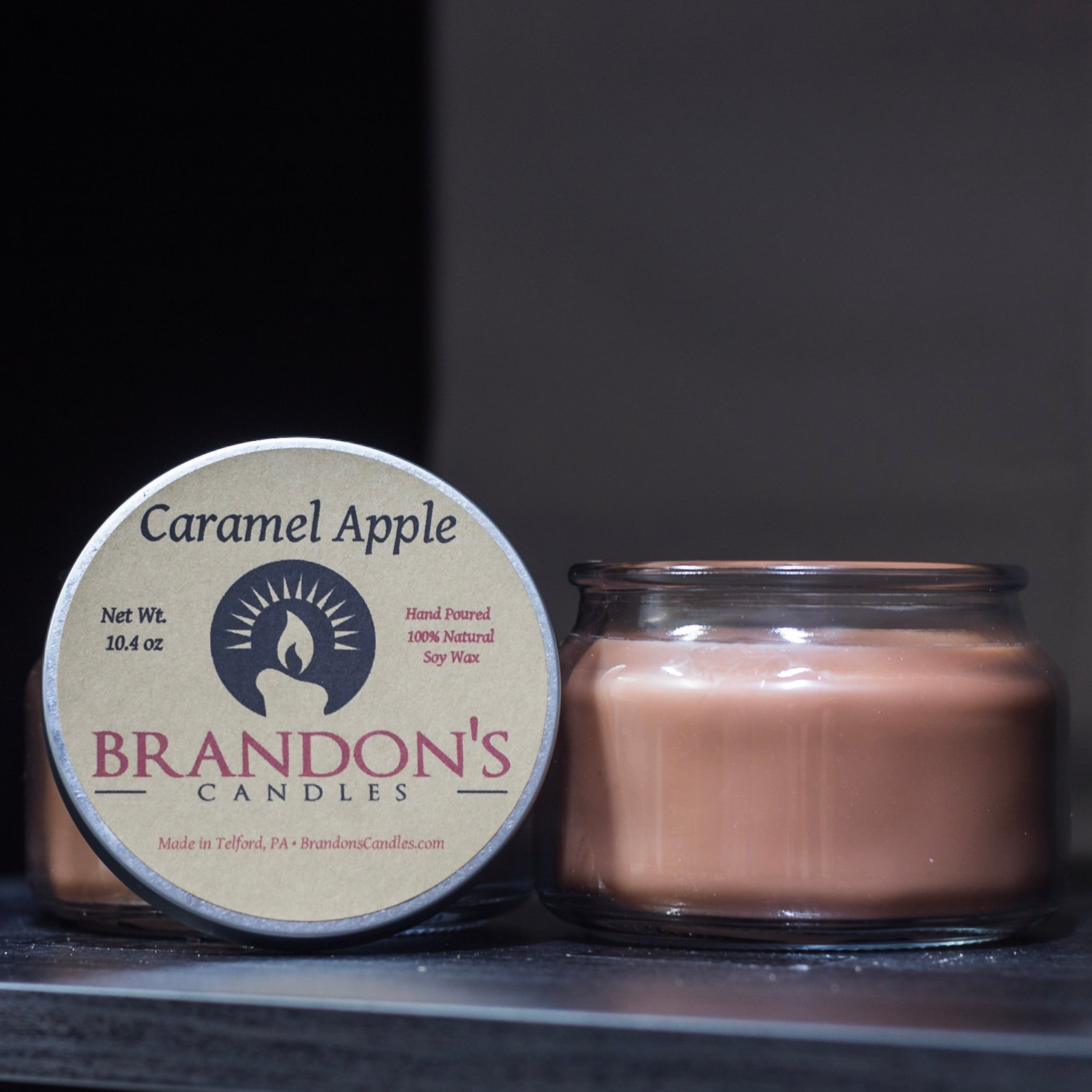 Caramel Apple Scented, Brown Colored Soy Jar Candle