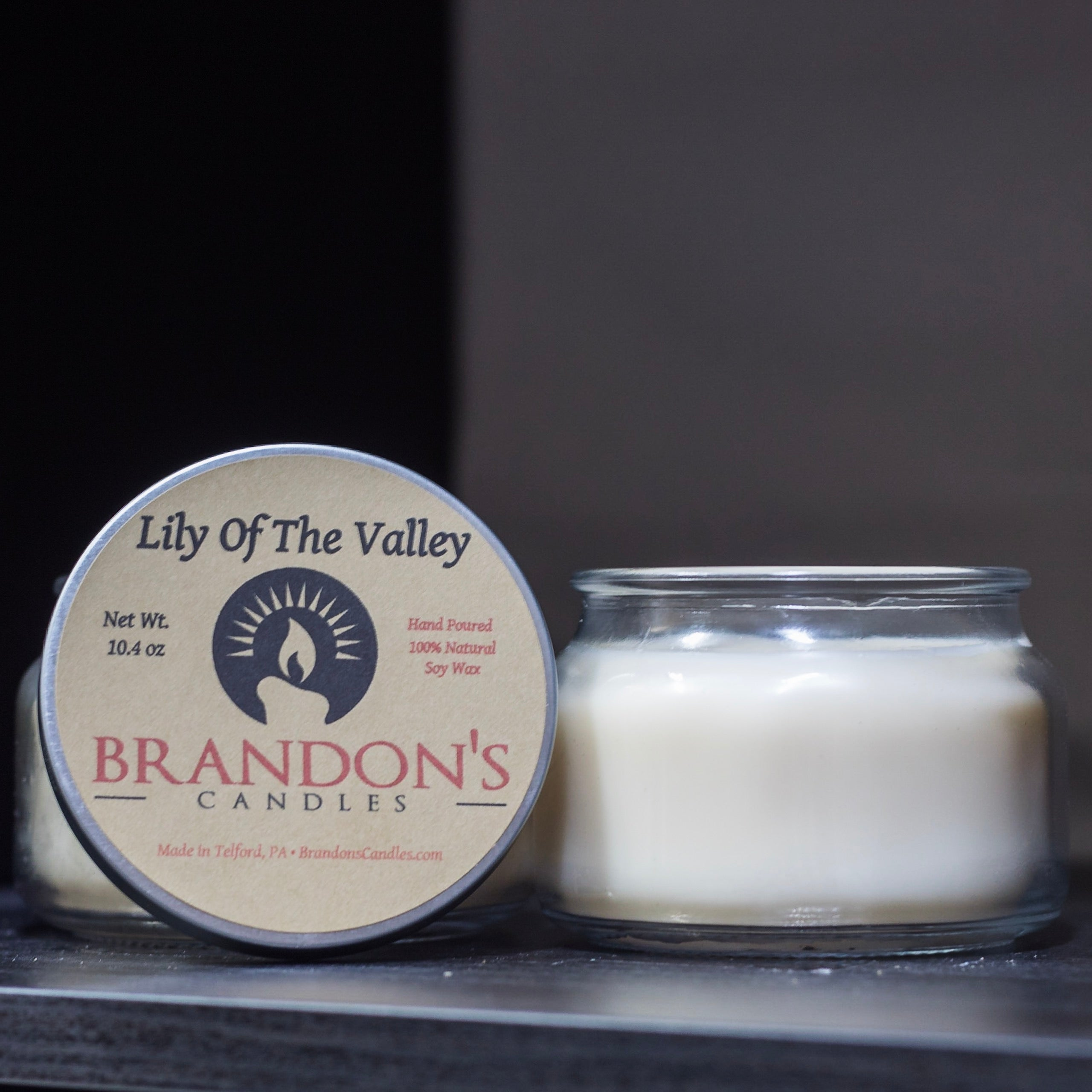 Lily of the Valley Scented, Cream Colored Soy Jar Candle