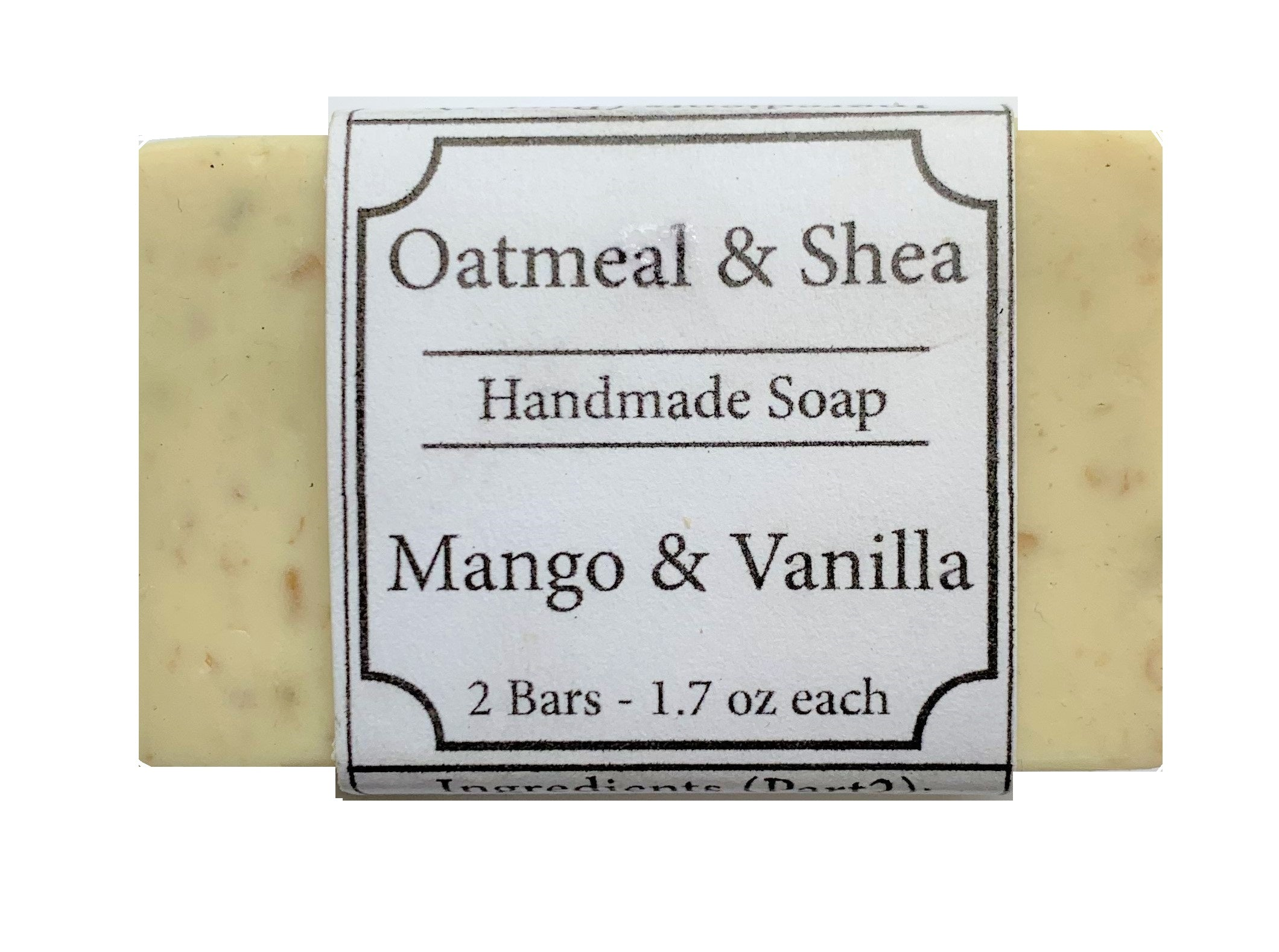 Mango & Vanilla Scented, Oatmeal & Shea Organic Face and Body Soap