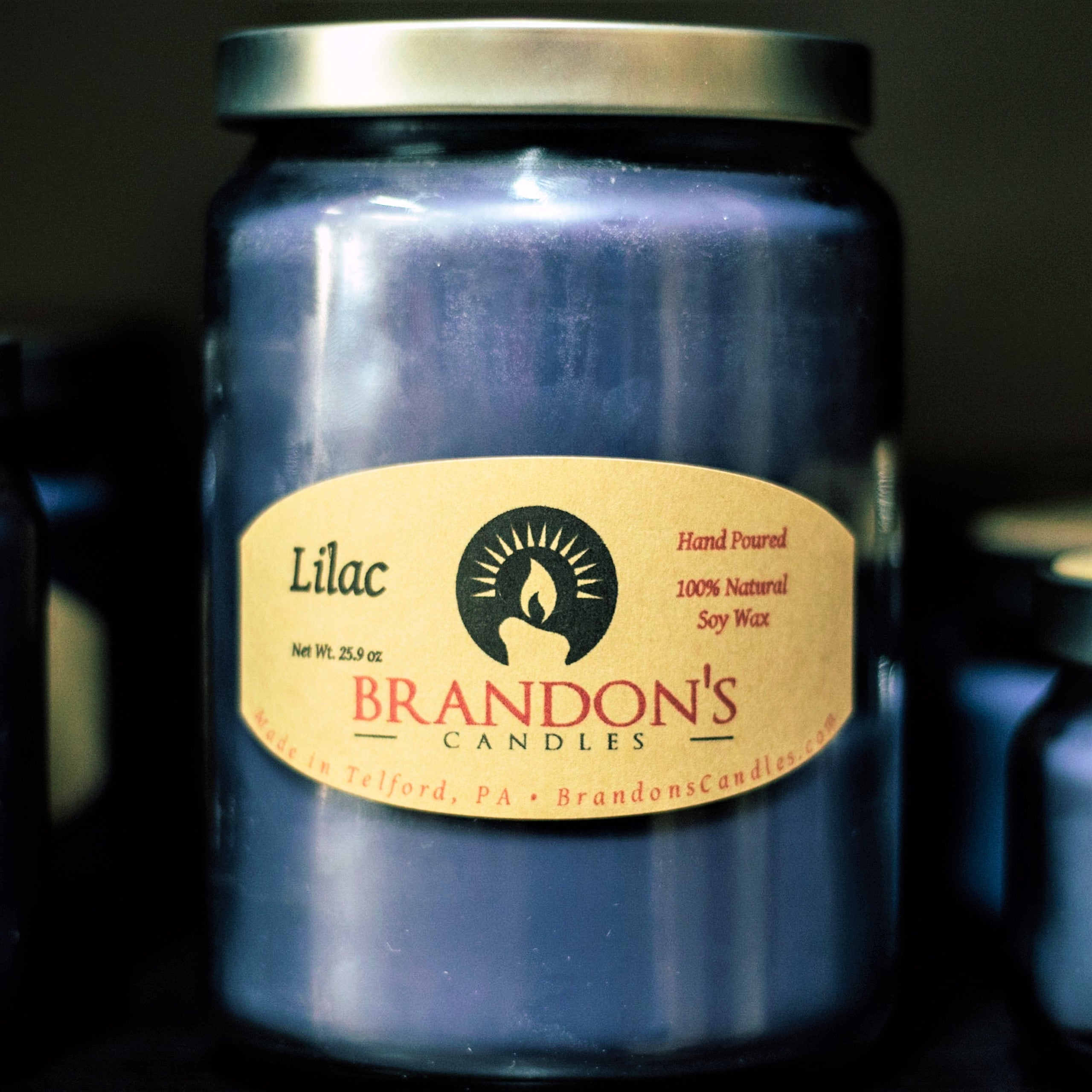 Lilac Scented, Purple Colored Soy Jar Candle