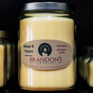 Mango & Papaya Scented, Yellow Colored Soy Jar Candle