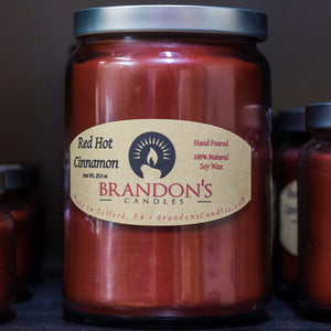 Red Hot Cinnamon Scented, Red Colored Soy Jar Candle