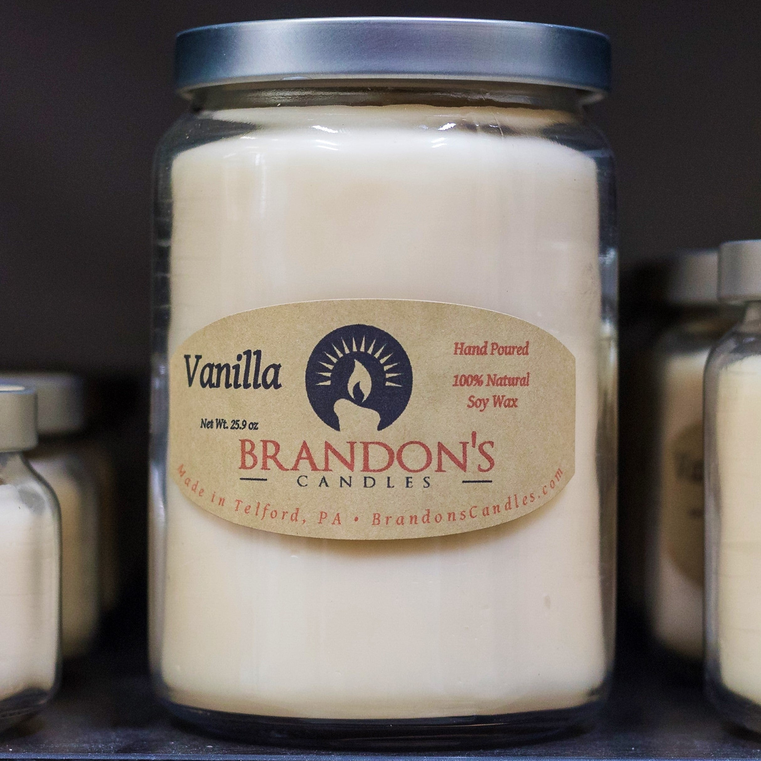 Vanilla Scented, White Colored Soy Jar Candle