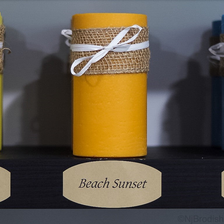 "6"" by 3"" Beach Sunset Scented, Orange Colored Soy Large Pillar Candle, 22.1 oz."
