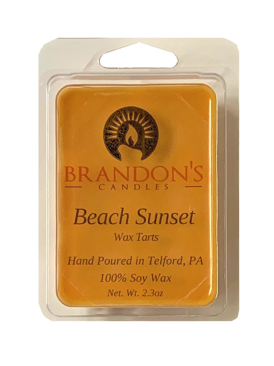 Beach Sunset Scented, Orange Colored Soy Wax Tart, 2.3 oz