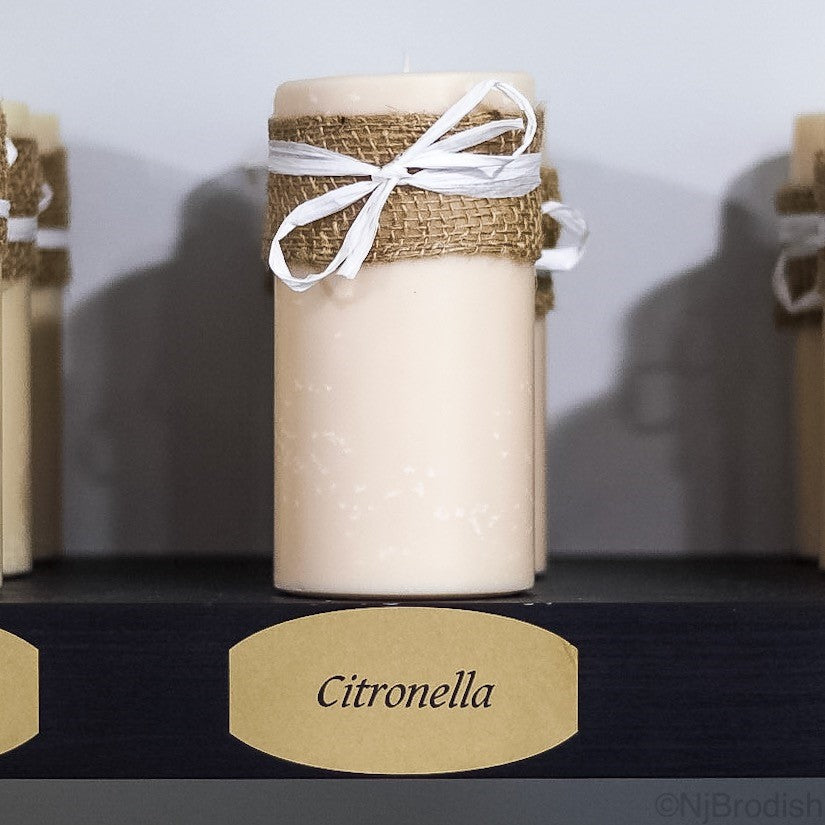 "6"" by 3"" Citronella Scented, White Colored Soy Large Pillar Candle, 22.1 oz."