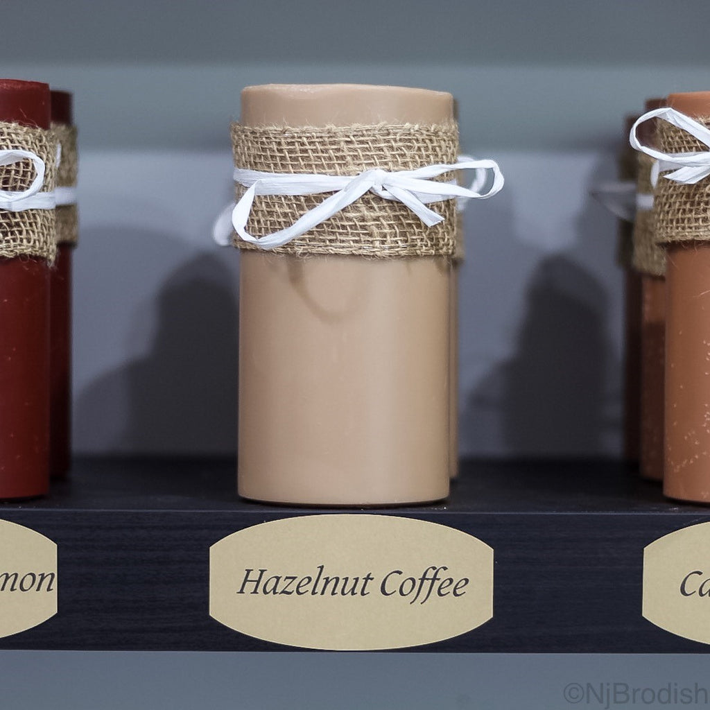 "6"" by 3"" Hazelnut Coffee Scented, Tan Colored Soy Large Pillar Candle, 22.1 oz."