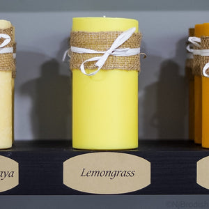 "6"" by 3"" Lemongrass Scented, Yellow Colored Soy Large Pillar Candle, 22.1 oz."