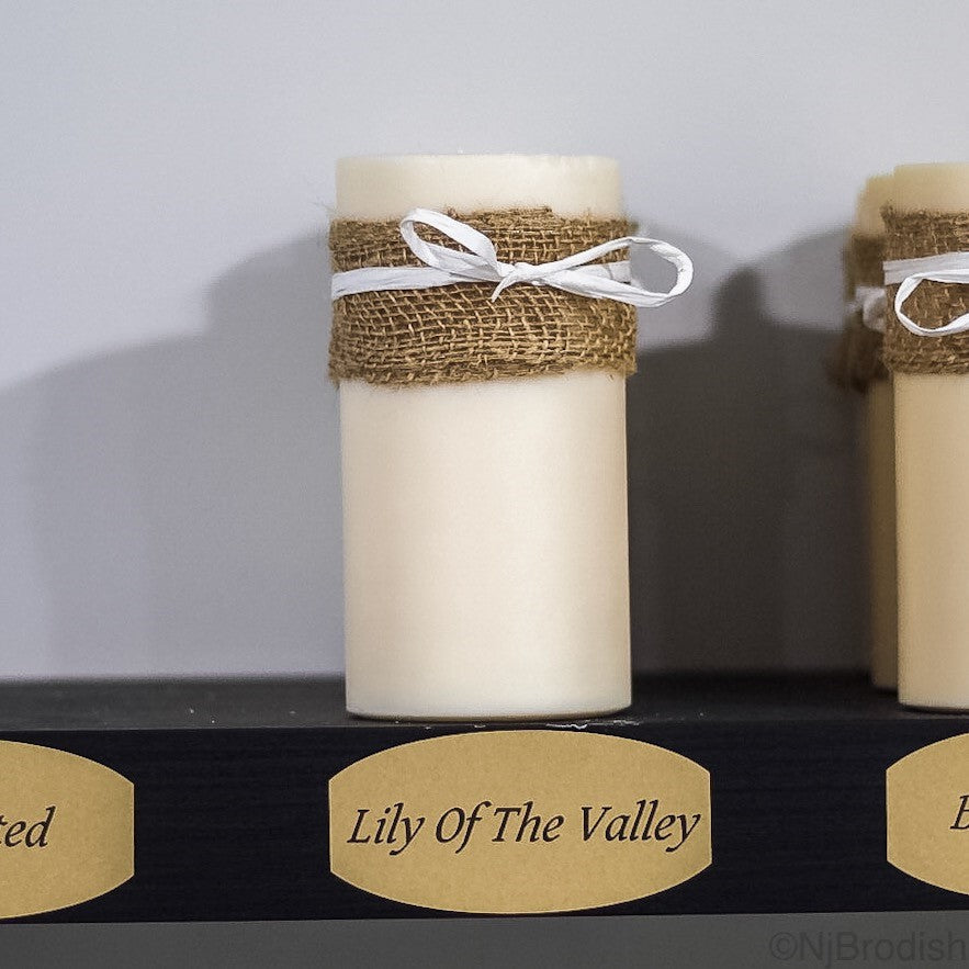 "6"" by 3"" Lily of the Valley Scented, White Colored Soy Large Pillar Candle, 22.1 oz."