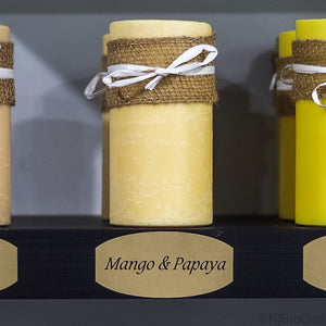 "6"" by 3"" Mango & Papaya Scented, Yellow Colored Soy Large Pillar Candle, 22.1 oz."