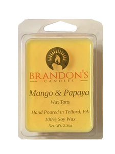 Mango & Papaya Scented, Yellow Colored Soy Wax Tart, 2.3 oz