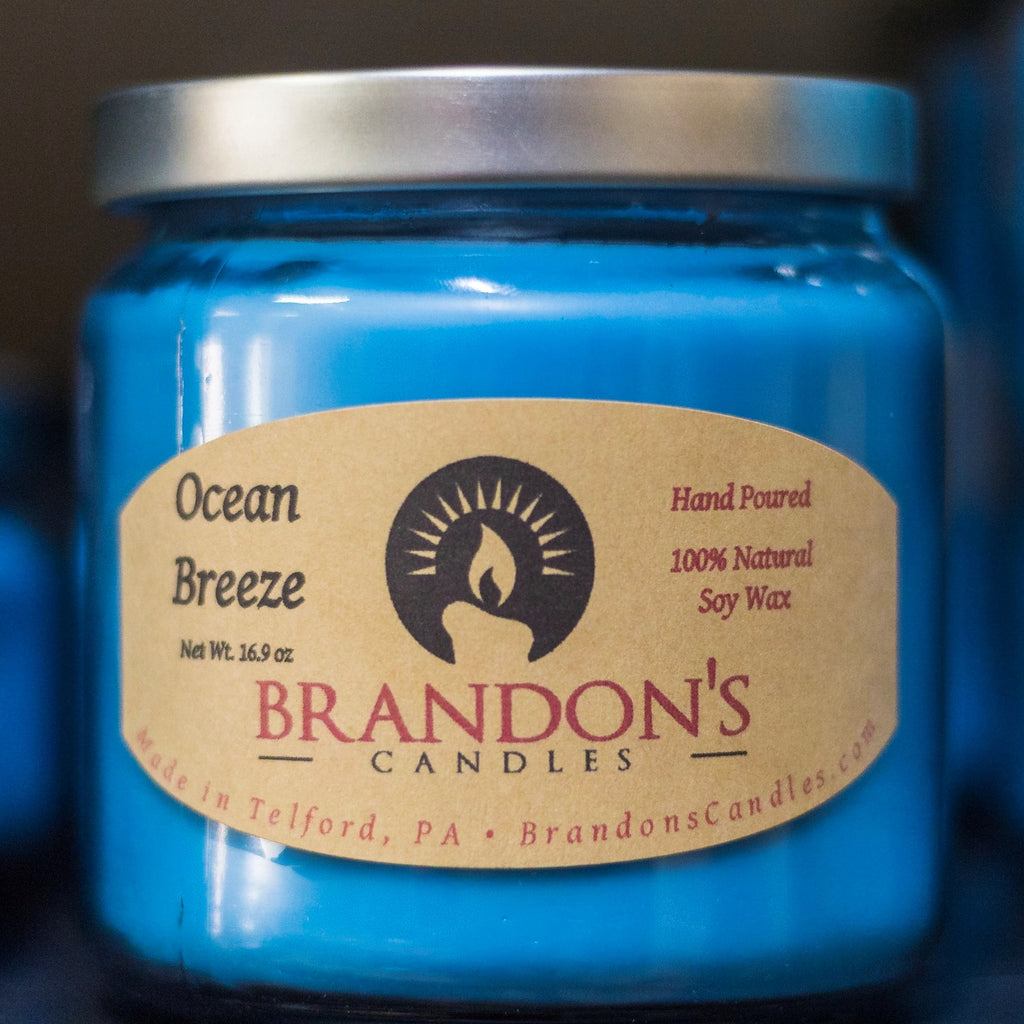 Ocean Breeze Scented, Blue Colored Soy Jar Candle