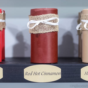 "6"" by 3"" Red Hot Cinnamon Scented, Red Colored Soy Large Pillar Candle, 22.1 oz."