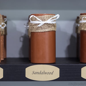 "6"" by 3"" Sandalwood Scented, Brown Colored Soy Large Pillar Candle, 22.1 oz."