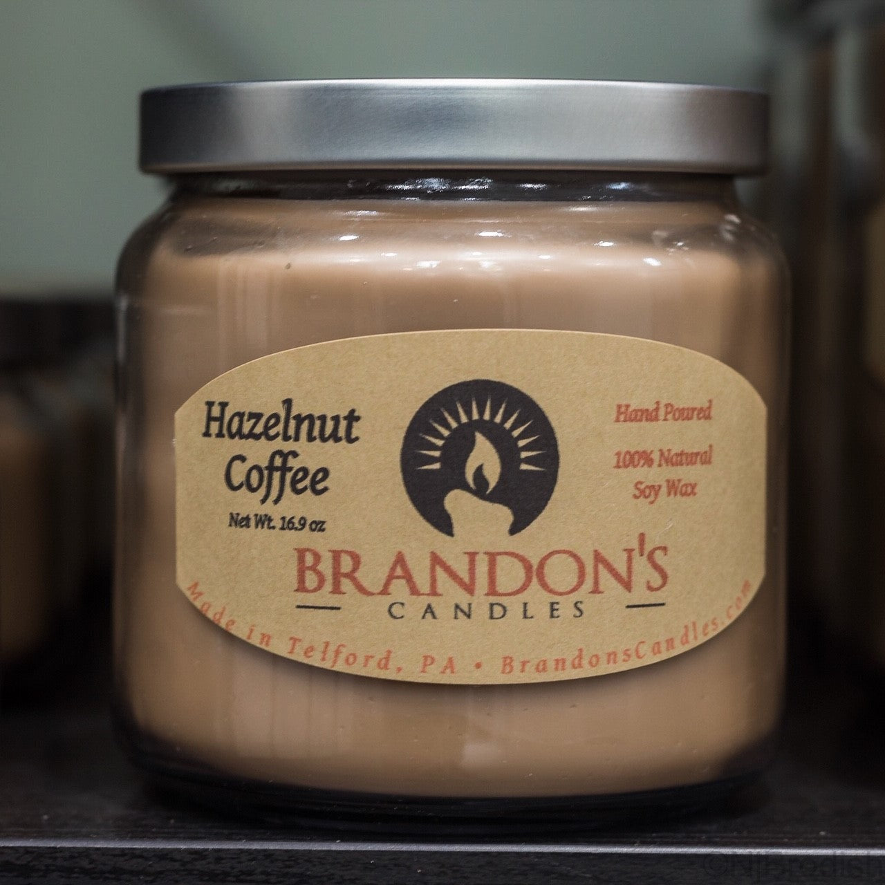 Hazelnut Coffee Scented, Mocha Colored Soy Jar Candle