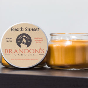 Beach Sunset Scented, Orange Colored Soy Jar Candle