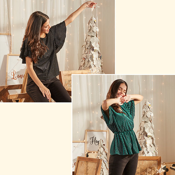 Black Flare Top For Women By LOV