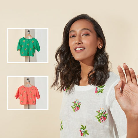 Floral Crop Tops By Bombay Paisley
