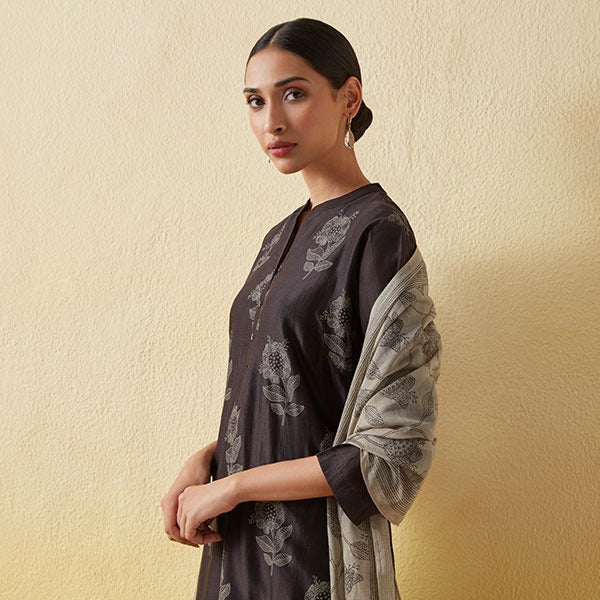 Womens Black Ethnic Kurta By Zuba