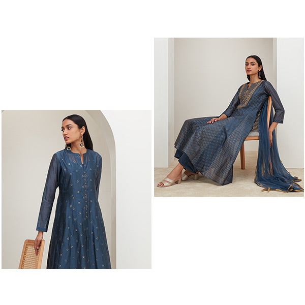 Blue Ethnic Suit For Women By Vark