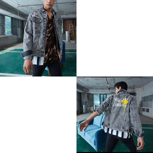 Charcoal Denim Jacket By NUON For Men