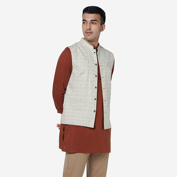 Printed Nehru Jacket For Men By ETA