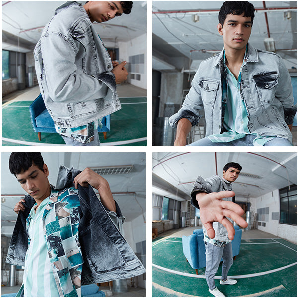 Grey Denim Jacket By NUON For Men