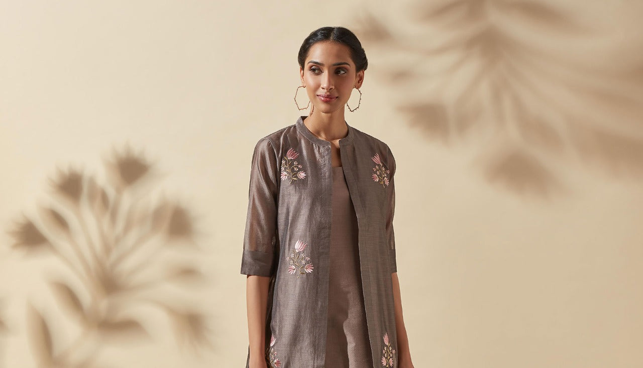 Womens Grey Ethnic Kurta