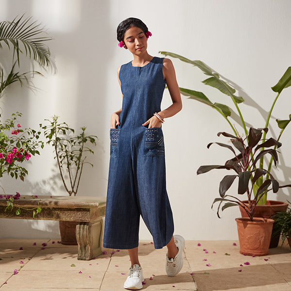 Blue Jumpsuit For Women By Bombay Paisley