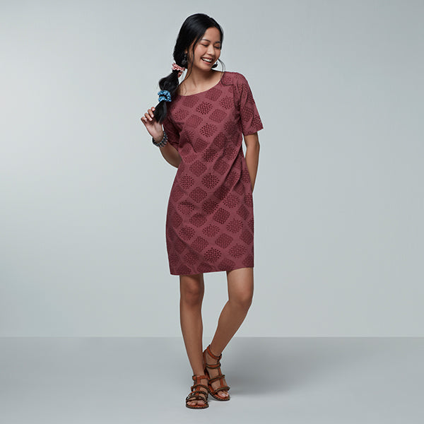 Printed Maroon Dress For Women