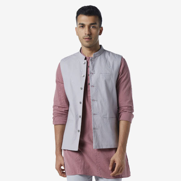 Pink Ethnic Kurta For Men By ETA