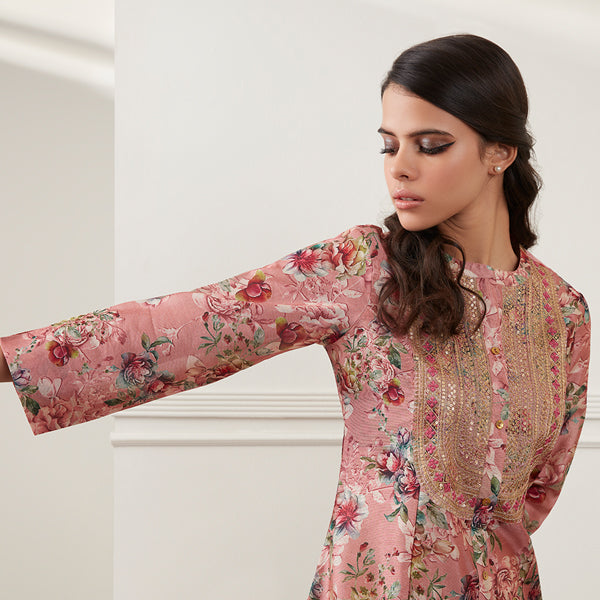 Pink Floral Ethnic Kurta For Women By Vark
