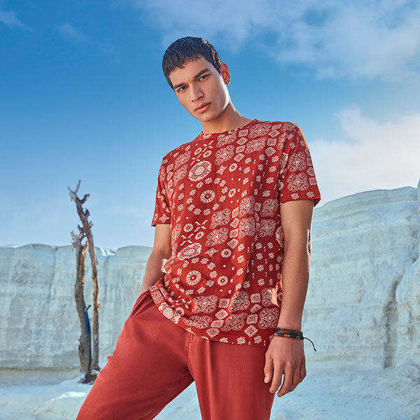 Printed Red Tshirt For Men By ETA