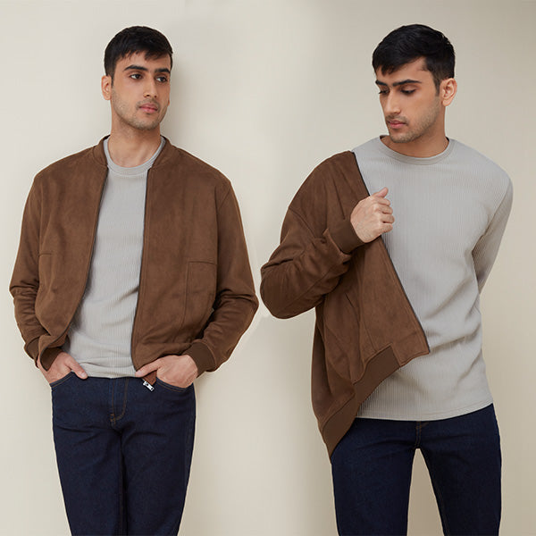 Tan Suede Jacket By Ascot For Men