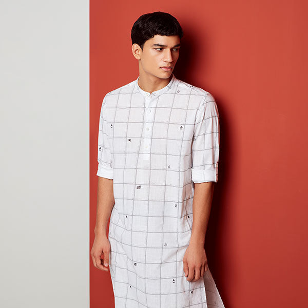 Mens White Ethnic Kurta By ETA