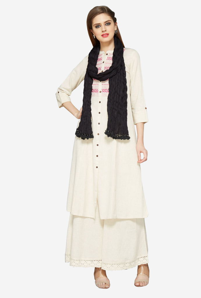 Utsa Black Crushed Dupatta