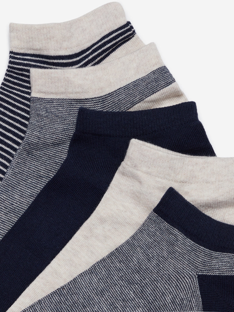 WES Lounge Navy Striped Trainer Socks Set Of Five