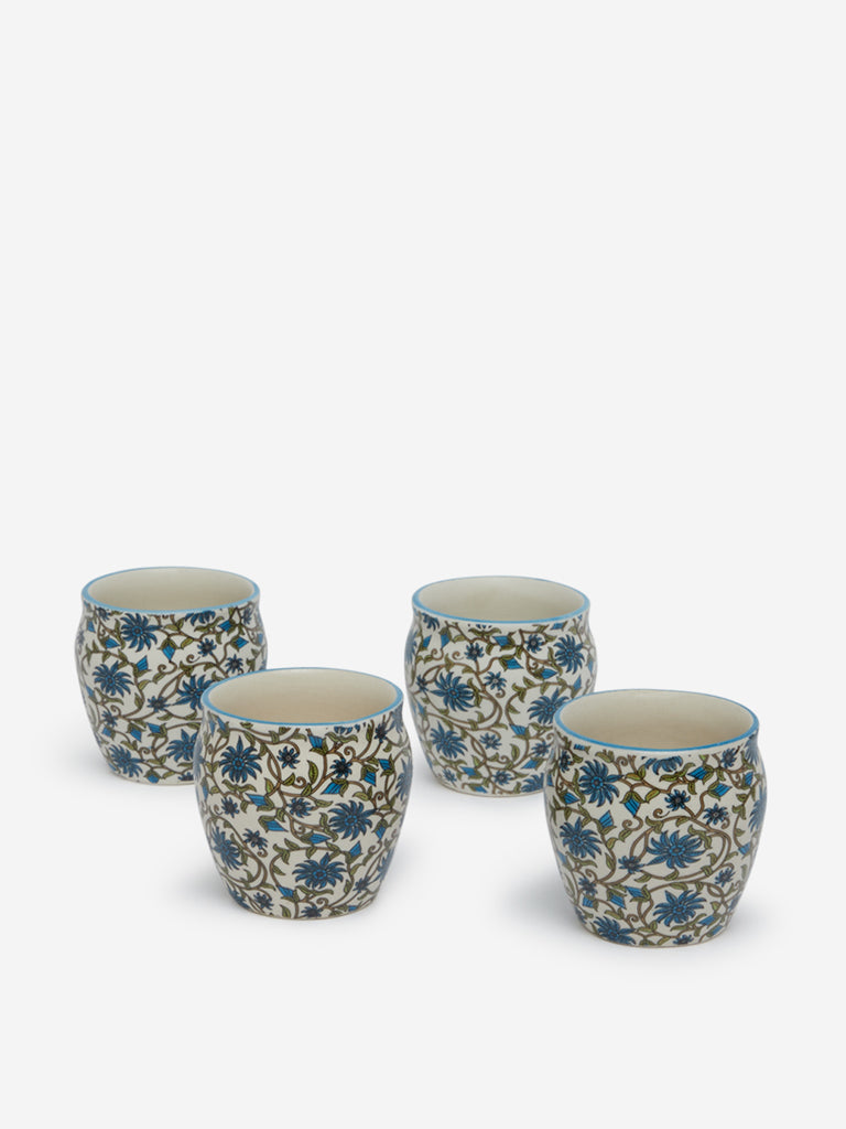 Westside Home Blue Floral Patterned Kulhars Set Of Four