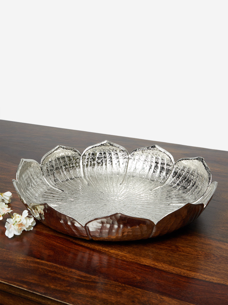 Westside Home Silver Large Lotus Platter