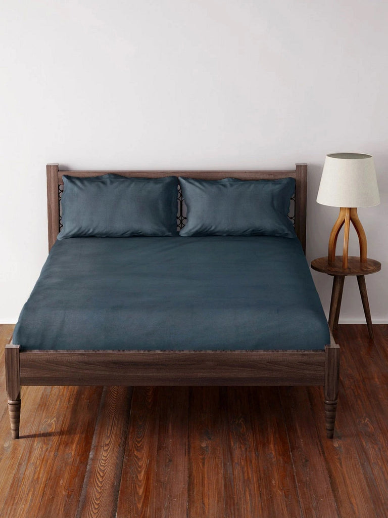 Westside Home Navy Cotton Bed Sheet with 2 Pillowcases