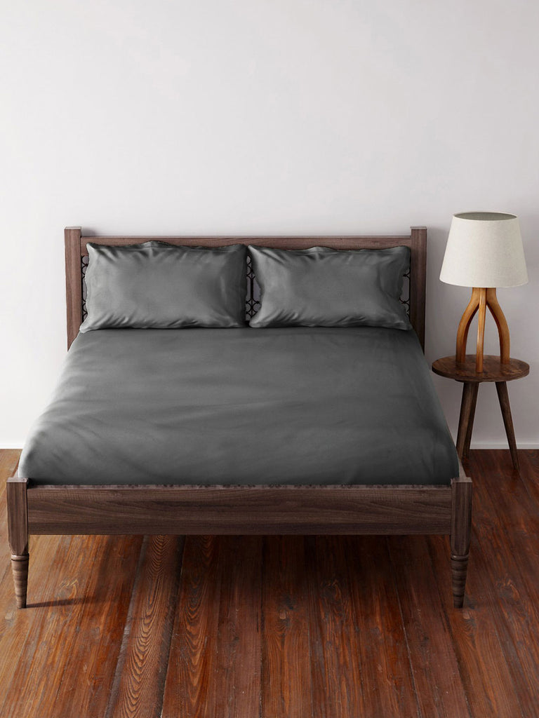 Westside Home Grey Cotton Bed Sheet with 2 Pillowcases