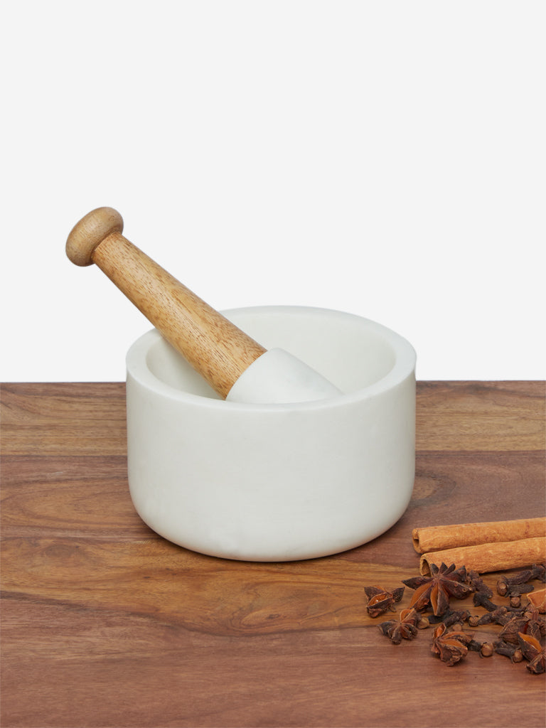 Westside Home White Marble Mortar And Pestle Set
