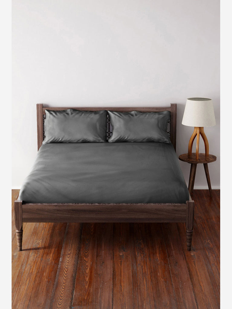 Westside Home Charcoal Pure Cotton Pillowcase Set of Two