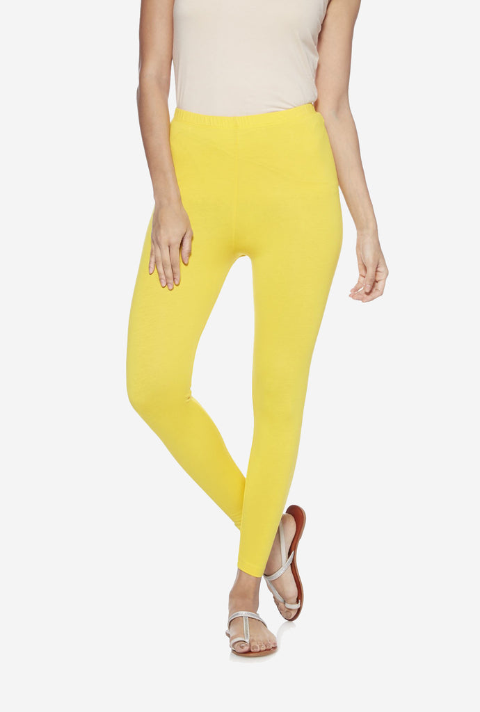 Utsa Yellow Cropped Leggings